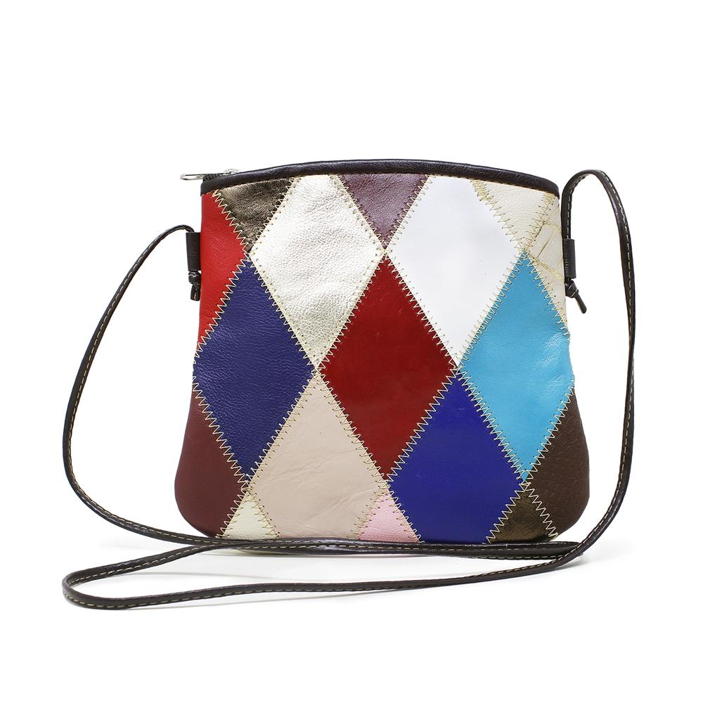 121970f87852f Bolsa transversal feminina de couro Colorido   Bolsa Relicário