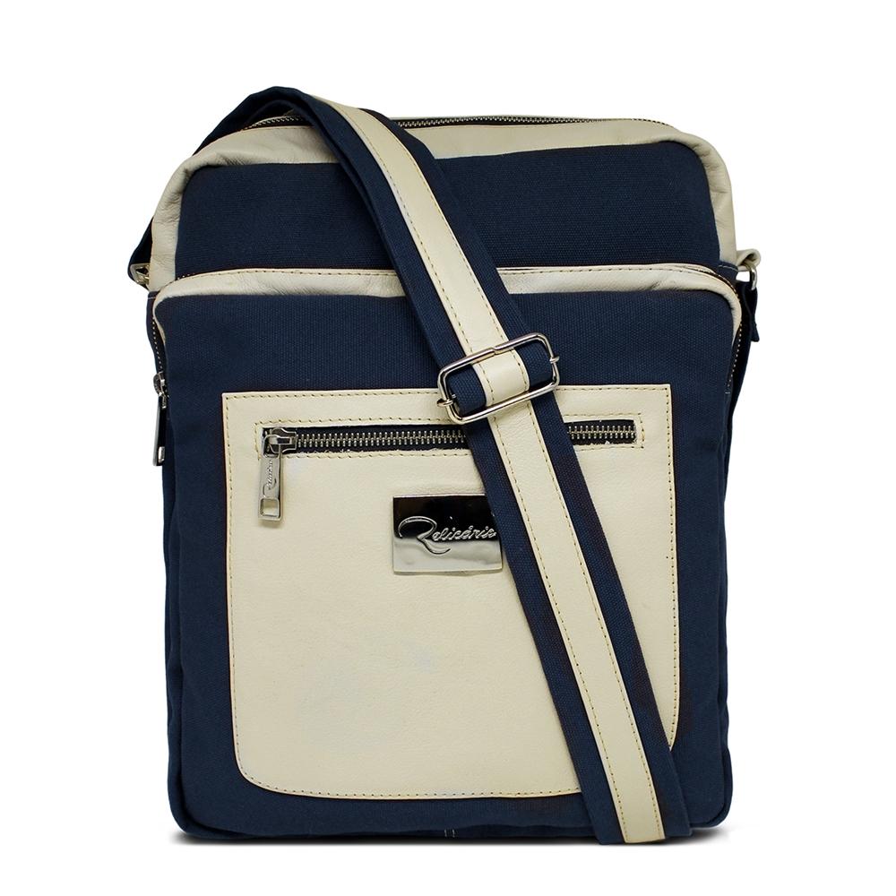 bcc592de4 Bolsa Carteiro de Lona e Couro Philip Azul Marinho   Bolsas Masculinas