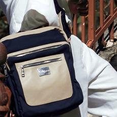 Bolsa Carteiro de Lona e Couro Philip - Azul Marinho