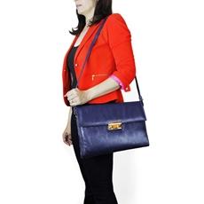 Bolsa Carteiro Feminina de Couro Giulia - Azul Marinho