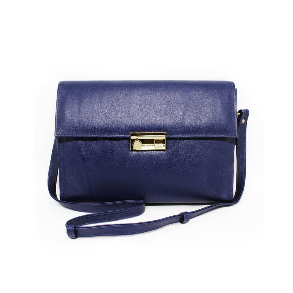 2de48fa2c Bolsa Carteiro Feminina de Couro Giulia Azul Marinho | Relicário