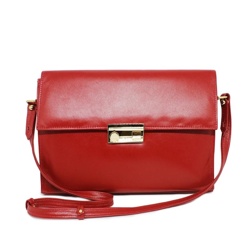 Bolsa Carteiro Feminina de Couro Giulia - Vermelho
