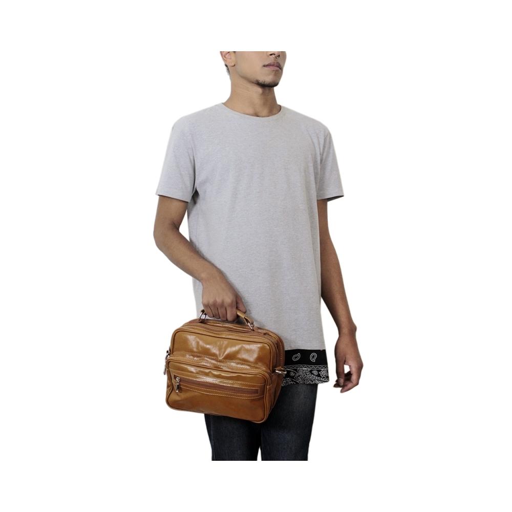 Bolsa Compacta de Couro Sandiego – Caramelo