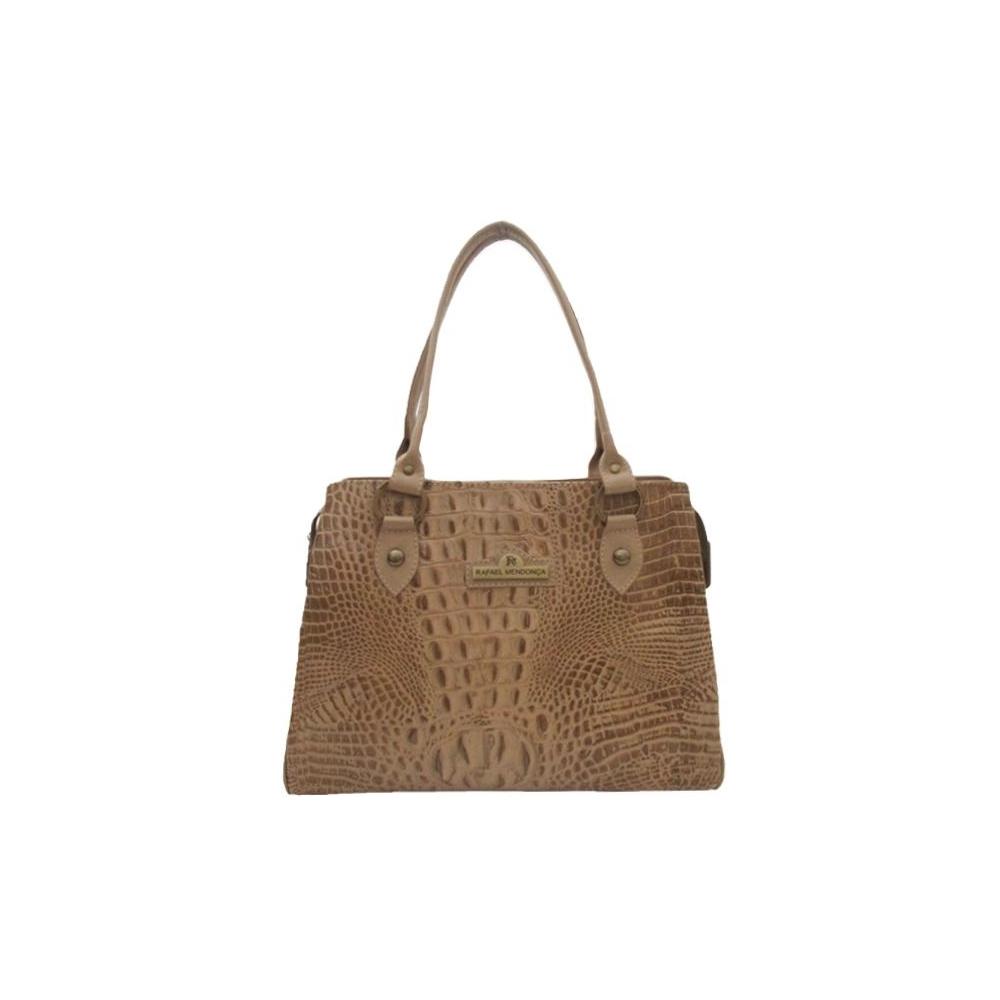 Bolsa de Couro Anne – Couro Croco Marfim
