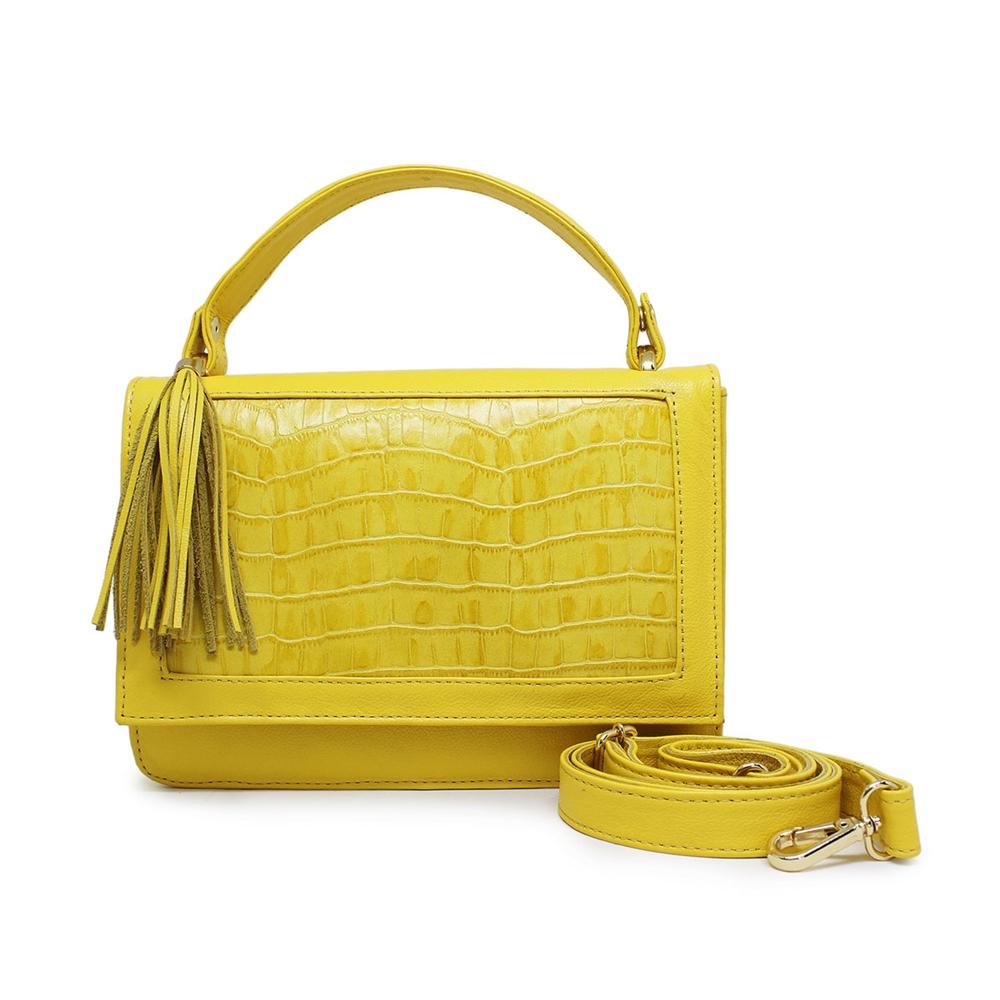 Bolsa de Couro Estruturada Olívia - Amarelo
