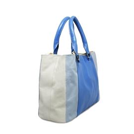 Bolsa de Couro Maíra - Azul celeste/Azul jeans/Off-white