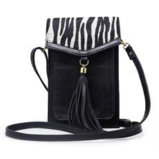 Bolsa de Couro Nicole Animal Print - Zebra/ Preto