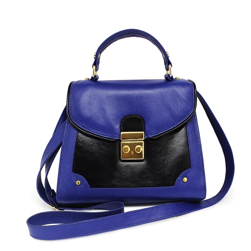 Bolsa Feminina de Couro Lola - Azul Marinho