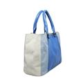 Bolsa Feminina de Couro Maíra - Azul Celeste/Azul jeans/Off-white