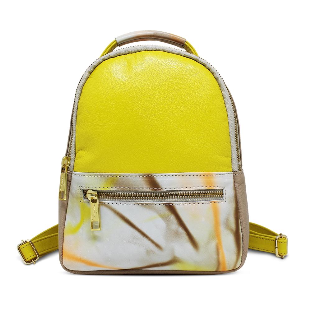 Bolsa Mochila de Couro Bárbara Amarelo - Coleção Cores da Primavera