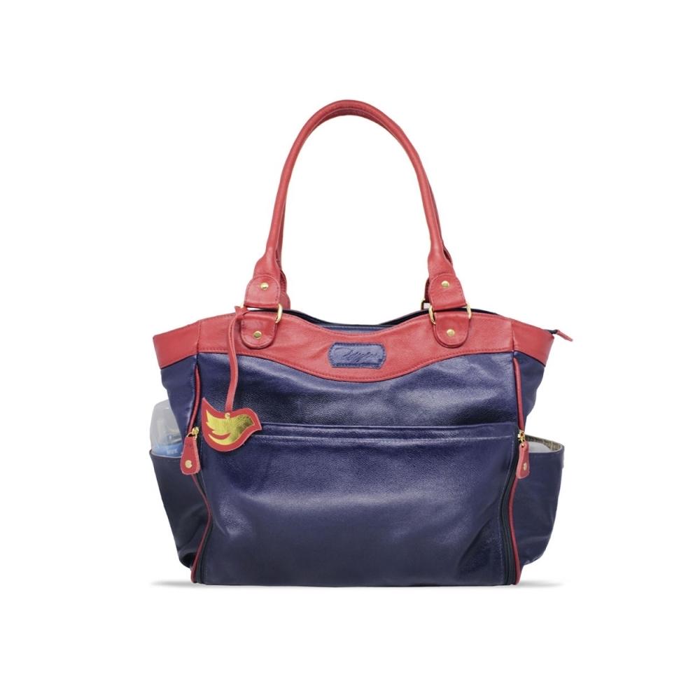 Bolsa para Bebê de Couro Modelo Laís - Azul Marinho