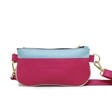 Bolsa Pochete de Couro Feminina Isa - Rosa/ Azul Turquesa