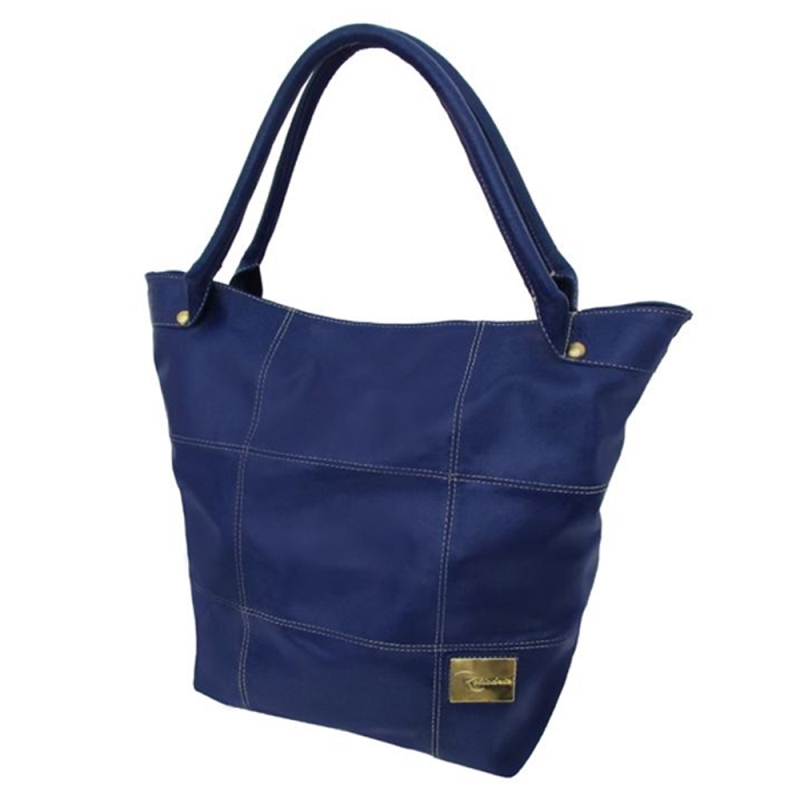 Bolsa Saco de Couro Squares – Azul
