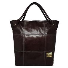 Bolsa Saco de Couro Squares - Chocolate