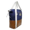 Bolsa Saco de Lona e Couro Jean - Lona Azul marinho/Couro Caramelo/Off-white