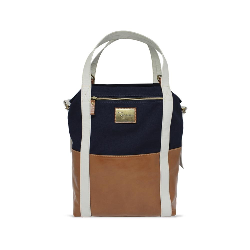 045f6f36c8 Bolsa Saco de Lona e Couro Jean - Lona Azul marinho Couro Caramelo Off
