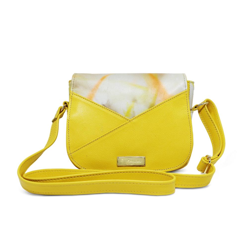 Bolsa Transversal de Couro Malu Amarelo - Coleção Cores da Primavera | Por Nanda Soares
