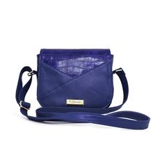 Bolsa Transversal de Couro Malu - Azul/Couro Croco Azul | Por Nanda Soares