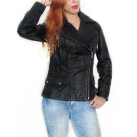 Jaqueta Feminina de Couro modelo Atena - Preto
