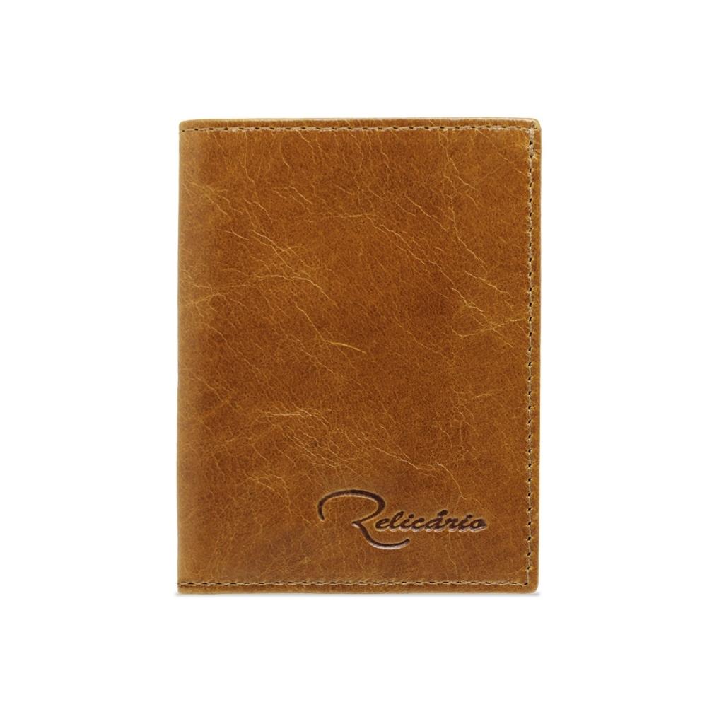 Mini-carteira de Couro Florim – Caramelo