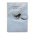 Porta Cartão de Vacina de Couro - Azul Bebê / Prata