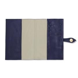 Porta Cartão de Vacina de Couro - Azul Marinho / Dourado
