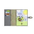 Porta Cartão de Vacina de Couro - Cinza / Dourado