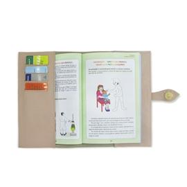Porta Cartão de Vacina de Couro - Nude / Dourado