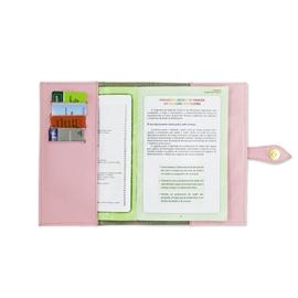 Porta Cartão de Vacina de Couro - Rosa Bebê / Dourado