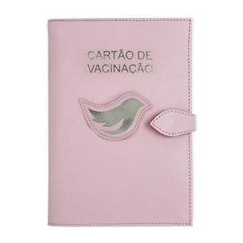 Porta Cartão de Vacina de Couro - Rosa Bebê / Prata
