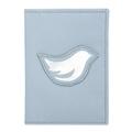 Porta Passaporte de Couro Bird - Azul Bebê / Prata