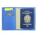 Porta Passaporte de Couro Bird -  Azul / Dourado