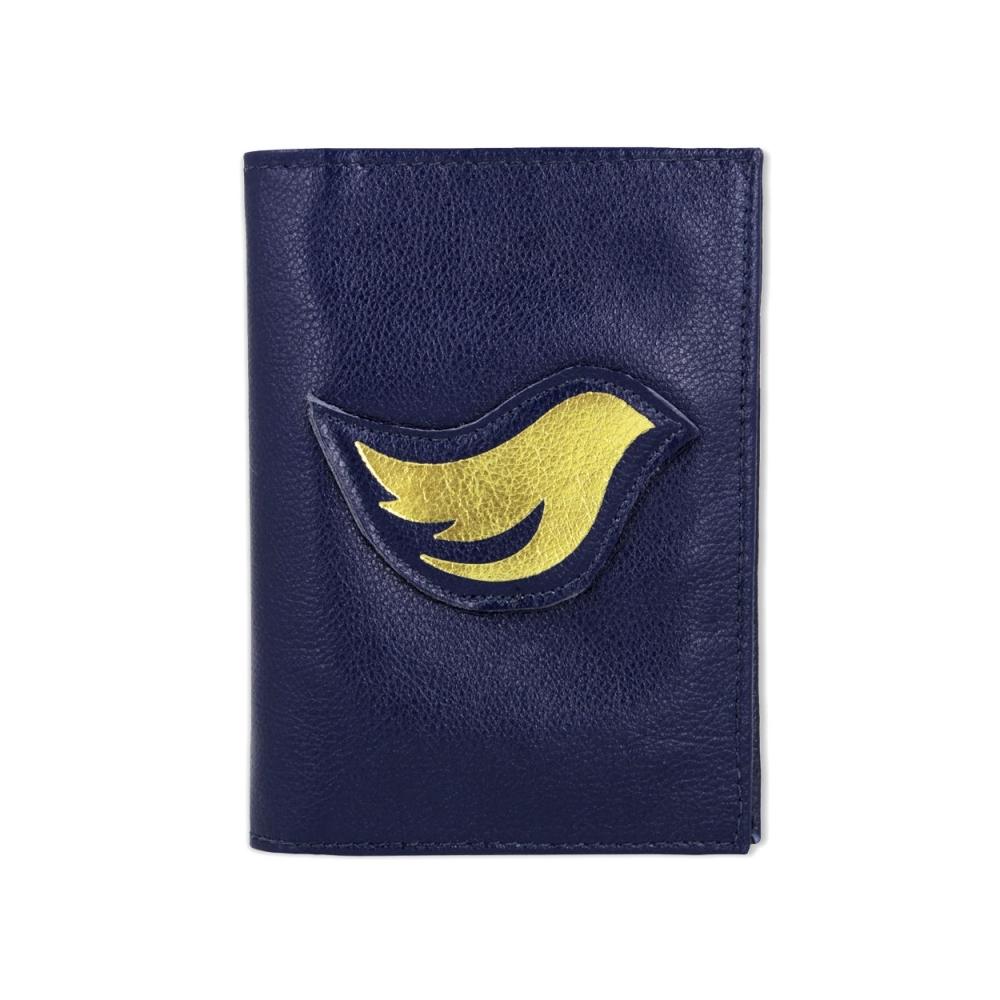 Porta Passaporte de Couro Bird -  Azul Marinho / Dourado