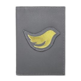 Porta Passaporte de Couro Bird -  Cinza / Dourado