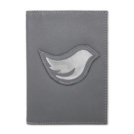 Porta Passaporte de Couro Bird -  Cinza / Prata