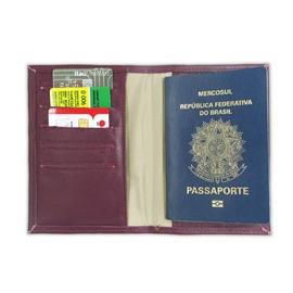Porta Passaporte de Couro Bird -  Framboesa / Dourado