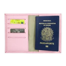 Porta Passaporte de Couro Bird -  Rosa Bebê / Dourado
