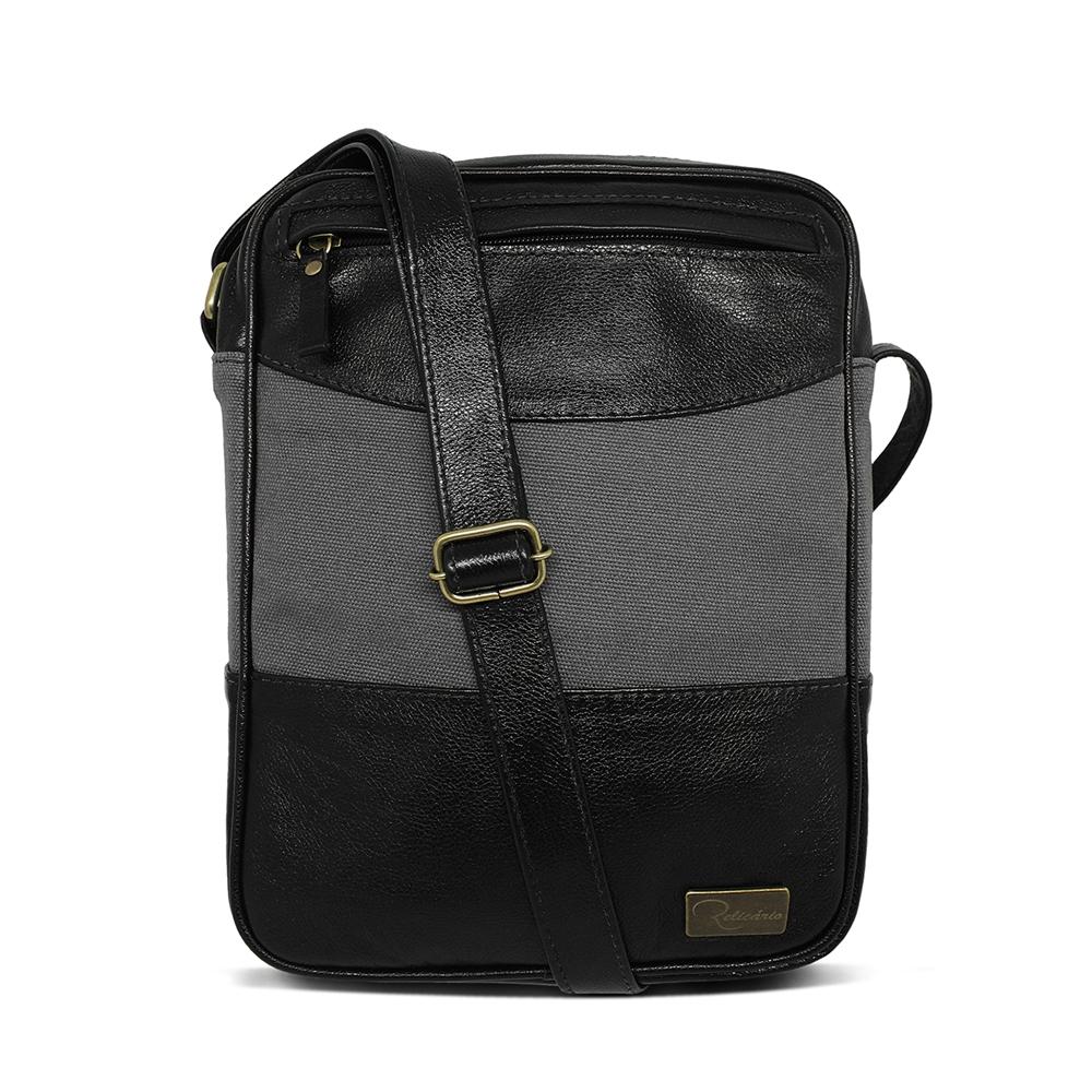 Shoulder Bag Couro e Lona Sam - Preto/Cinza | Por Nanda Soares
