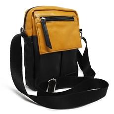 Shoulder Bag de Couro e Nylon Nick - Mostarda/ Preto