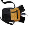 Shoulder Bag de Couro e Nylon Nick - Mostarda/ Preto