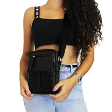Shoulder Bag de Couro e Nylon Nick - Preto