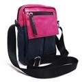 Shoulder Bag de Couro e Nylon Nick - Rosa/Azul Marinho