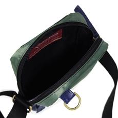 Shoulder Bag de Couro e Nylon Oliver - Azul Marinho/Verde